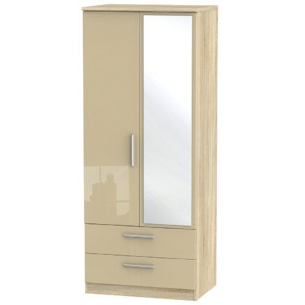Knightsbridge Tall 2 Drawer Mirror Robe